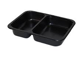2-compartment CPET tray